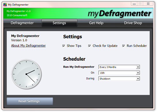My Defragmenter Scheduler